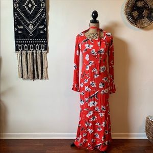 NWT ASOS Maxi Tea Dress w/ Neck Tie in Red Floral